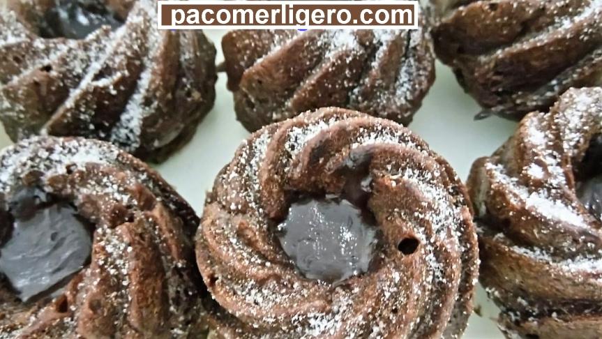 Muffins de salvado y chocolate desengrasado, sin azúcar, sin harina y muy bajos engrasa